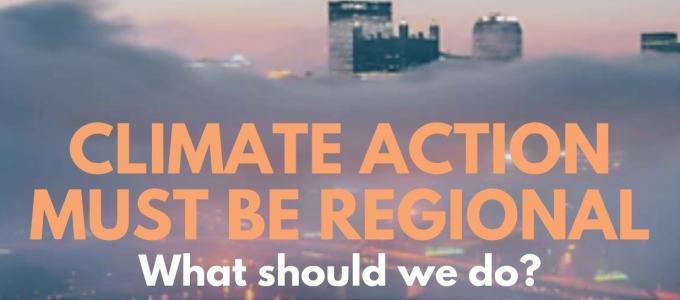Survey flyer that says climate action must be regional